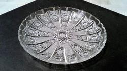 Gyönyörű metszéssel díszített régi kristály tál 22 cm