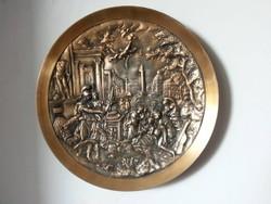 Reneszánsz jelenetes Bronztányér