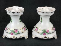 Hollóházi porcelán gyertyatartó pár
