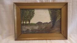 Folyópart akvarell festmény 16x22,5 cm