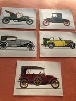 5 db régi autókat ábrázoló képeslap
