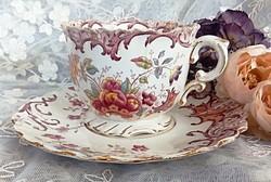 Antik fajansz Sarreguemines Fleury nagy 3dl-es teás csésze