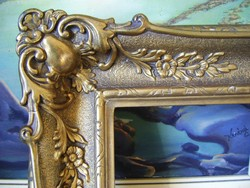 Kastélyba illő hatalmas antik képkeret  (100 x 133 cm!!!)