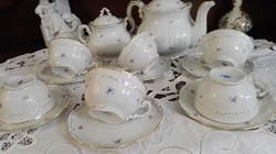 Zsolnay barokk apró virágos teás készlet