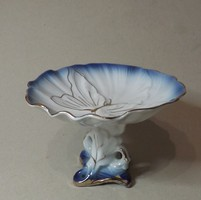 Lepke motívumos kis talpas porcelán  kínáló