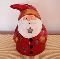 Karácsonyi dekoráció nagy mécsestartó kerámia mikulás télapó 21 cm