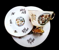 Vallási jelenetes porcelán reggeliző készlet