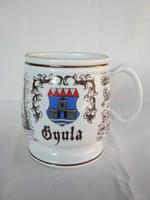 Gyulai emlék Hollóházi porcelán korsó