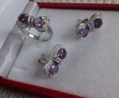 Elbűvölő ametiszt köves gyűrű 52/ 16,7, fülbevaló 925 ezüst