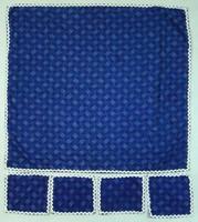 0S932 Régi kékfestő terítő szett 1 + 4 darab