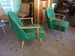 Retro régi fakarfás fotelpár kárpitozott fotel