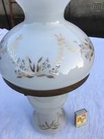 Petróleum lámpa fehér festett - nagy virágmintás - mutatós