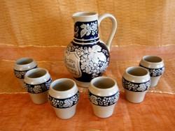 Gyönyörű és ritka Staffel Stoneware kerámia boros készlet 1 nagy kancsó és 6 pohár