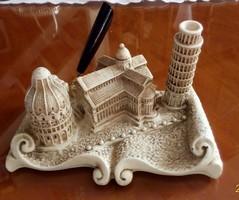 Préselt márvány písai levélnehezék, tolltartó