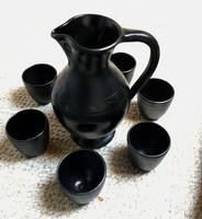 Különleges ókóri eljárással készült osztrák fekete kerámia boros készlet,nagyon olcsón.
