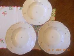 Zsolnay apró virágos mély tányér 3 db