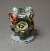 Herendi rózsás gyertyatartó  , ritka színes rózsákkal