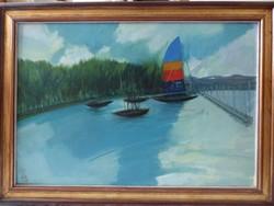 Kóka Ferenc (1934-1997) : Balatoni kikötő (1986)