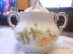Zsolnay sárga rózsás, nagyméretű teás cukortartó. Barokk, tollazott. Ritka