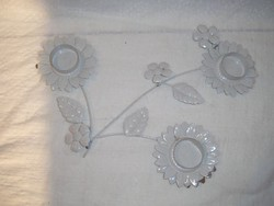 Metal - candle holder - flower shape - candle holder - metal - large - dazzling white - charming 32 x 32 cm