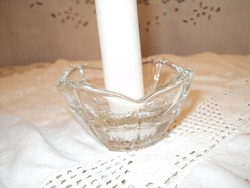 Glass - 2 candlesticks - flower shaped - thick glass 8 x 4 cm 2 pcs 700 ft - flawless