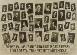 0U001 Régi iskolai fotográfia tablókép 1929