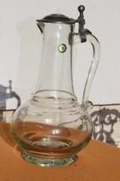 Huta fújt üveg karaffa kancsó WMF jelzéssel ón fedő