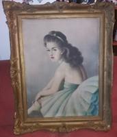 Végh Gyula szignós balerina festmény, olaj, szép keret, vászon, karcokkal, 60*80+keret!