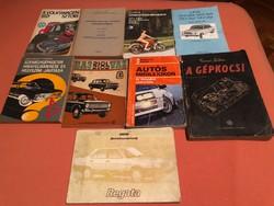 9 db gépjárművekről szóló könyv