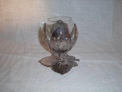 Gyertyatartó - ezüstözött  10 x 10 cm