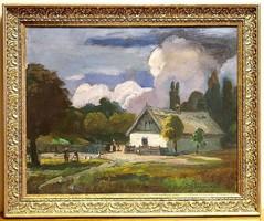 Iványi Grünwald Béla/1867-1940/ műhelye:Falusi udvar, olaj, vászon