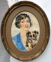 """Keller Lívia ( 1918-2005 ) """"  Hölgy kutyával 1936"""""""