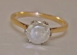 Káprázatos 1.03ct valódi gyémánt  platina arany gyűrű VIDEO