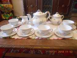 Zsolnay barokk, tollazott barackvirágos teás készlet