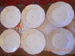 Zsolnay apró virágos lapos tányér 6 db