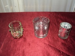 Glass 3 pcs !!! Candlestick - candle holder thick - fringed 1 piece metal durable 1100 ft 3 pieces