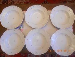 Zsolnay apró virágos mély tányér 6 db