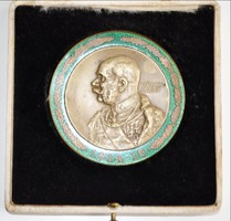 Érem Ferenc József 1914-1915 bronz tűzzománc díszítéssel, átmérő 65 mm