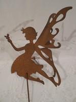 Tündér - fém - rozsdásított - 3D szárnyakkal - 15 x 10 cm + pálca