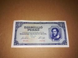 Egymilló Pengős bankjegy,1945-ből.Nagyon szép állapotban.