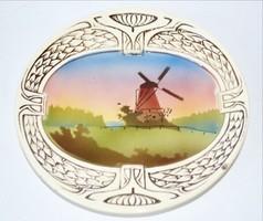 Falitányér Körmöcbánya Art deco közepén festett szélmalmokkal nem restaurált