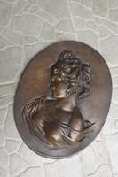 Ritka Sisi Erzsébet királyné Nagy 30cm Fém ón öntvény szobor Plakett