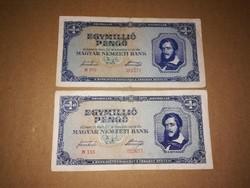 Egymilló Pengős, bankjegy,2 db 1945-ből.