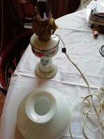 Antik asztali lámpa + tejüveg búra
