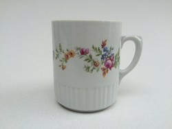 Zsolnay porcelán virágos bögre régi teás csésze 1 db