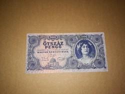 500 Pengős, régi bankjegy  1945-ből .