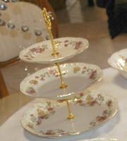 Zsolnay pillangós süteményes,emeletes,kínáló
