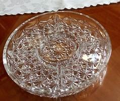 Gyönyörű, osztott kristály kínálótál, asztalközép 25 cm átmérőjű
