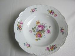 Régi Zsolnay porcelán rózsás tányér dísztányér