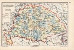 Magyarország megyei és közlekedés térkép 1907, eredeti, atlasz, Kogutowicz Manó, régi, magyar nyelvű